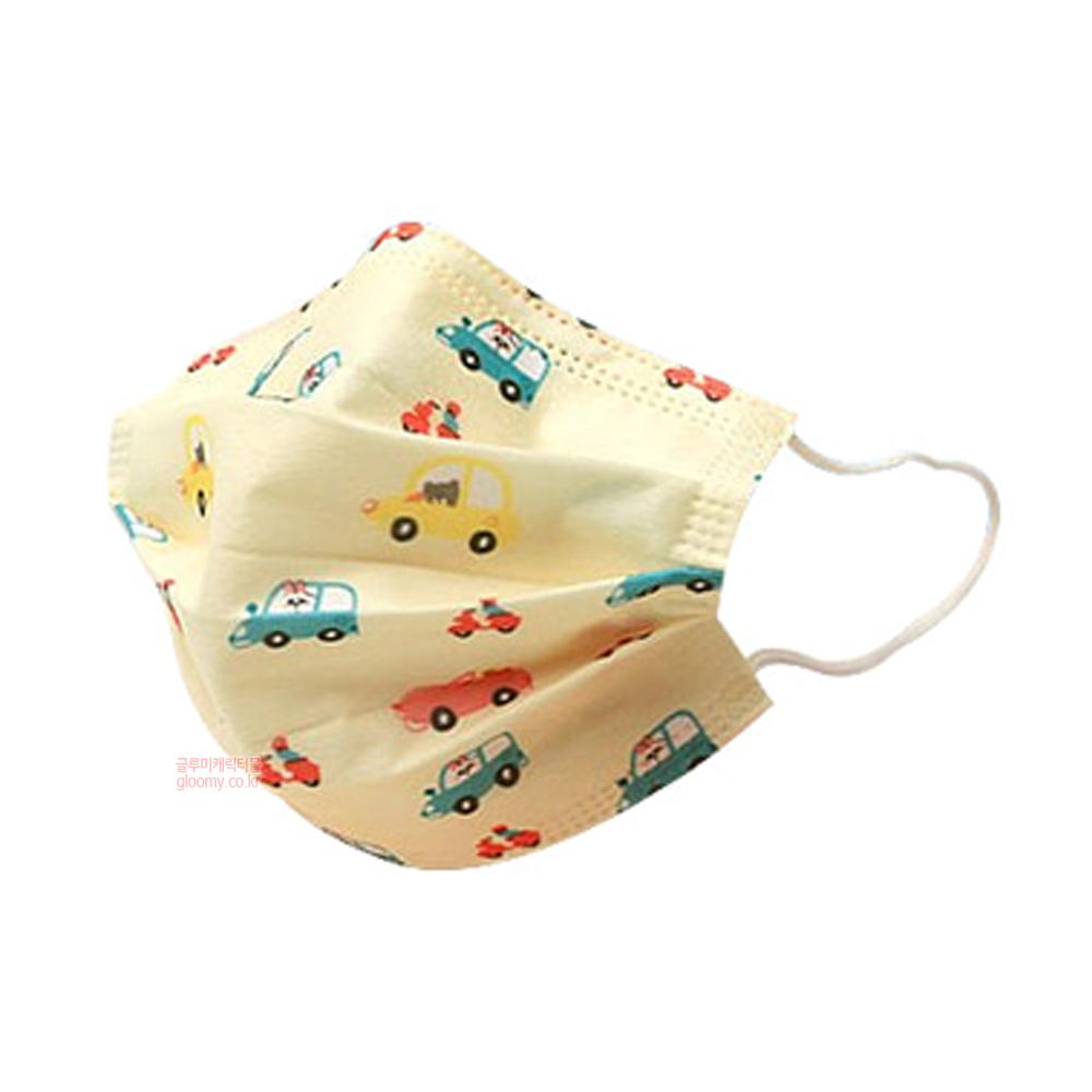 자체브랜드어린이 3중 필터 일회용 마스크(붕붕옐로우) 50p세트 074978